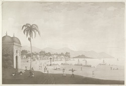 'View of the village of Rajemahal' [Rajmahal]. Aquatint, drawn and engraved by James Moffat, published Calcutta 1806
